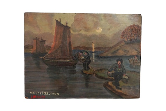 Fishing Boat and Fisherman Boat Painting, Original French Mediterranean Sea Coastal Art