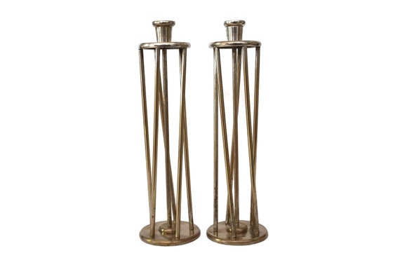Modernist Brass Cage Column Candle Holder Pair, Mid Century Candlesticks and Home Decor