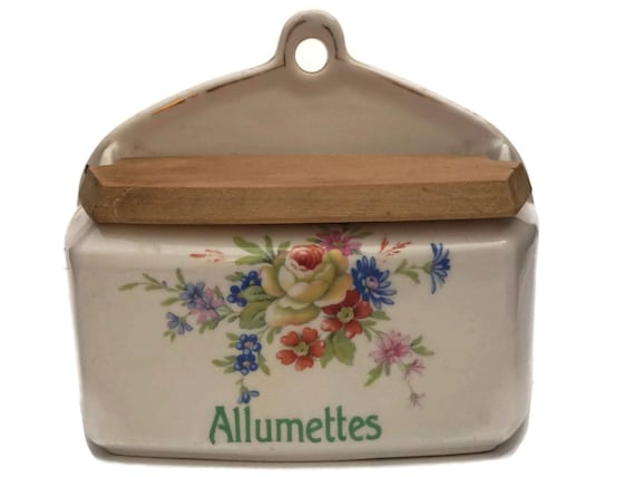 French Porcelain Match Box Holder