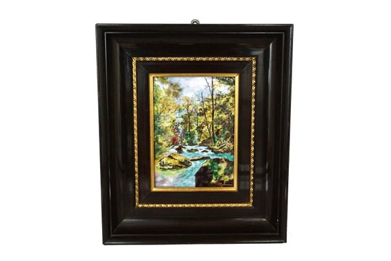Hand Painted French Limoges Enamel Wall Art with River, Trees and Country Landscape by G Courreaux