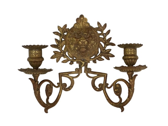 Antique Bronze Lion Candle Sconce, French Wall Candelabra Light Fixture