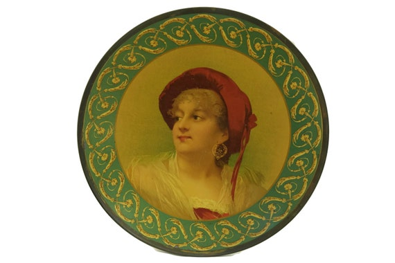 Victorian Antique Cabinet Art Plate with Lady Portrait, Lithograph Tin