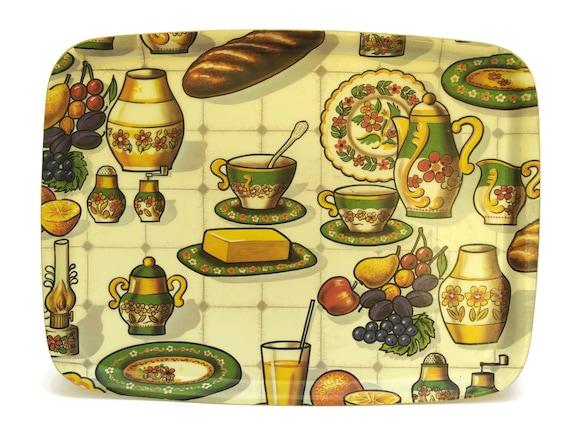 Vintage Fiberglass Drinks Tray. 1970s French Kitchen Decor. French Vintage Breakfast Tray.
