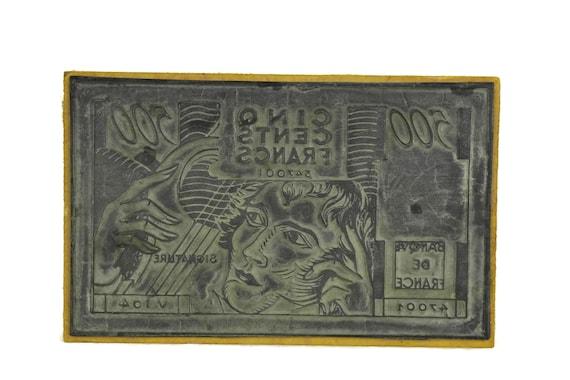 Vintage French Bank Note Rubber Stamp Wood Print Block. Kids Art & Craft Printing Gift. French Francs Money. Vintage Decor.
