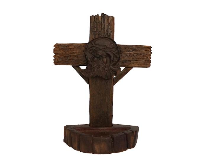 Carved Wood Standing Crucifix with Jesus Portrait, Modernist Cross Christian Art Sculpture