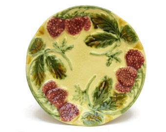 Majolica Strawberry Plate. Vintage French Hand Decorated Ceramic Wall Plate. Pink and Green Majolica Leaf Plate.