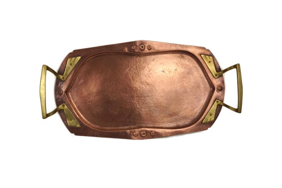 Arts and Crafts Copper Tray with Brass Handles, Hammered Metal Serving Tray, Antique Barware