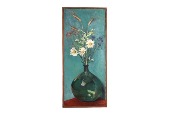Wild Flowers in Glass Bottle Still Life Painting by Marie-Anne Lansiaux , French Floral Bouquet Art