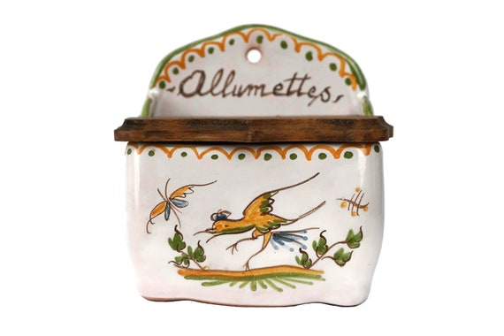 French Faience Match Box Holder with Hand Painted Moustiers Pattern, Country Kitchen Decor