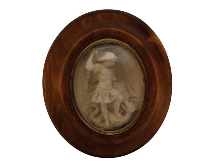 Antique Saint Michael and the Dragon Meerschaum Reliquary, French Christian Wall Hanging Medallion in Domed Glass Frame