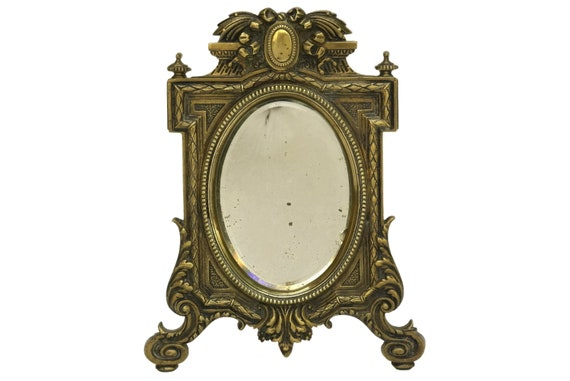 Bronze Standing Mirror with Beveled Glass, Antique French Vanity Makeup Mirror