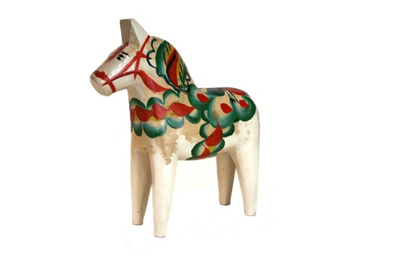Vintage Swedish Dala Horse Figurine by Nils Olsson, Dalecarlian Folk Art Wooden Sculpture, Scandinavian Decor
