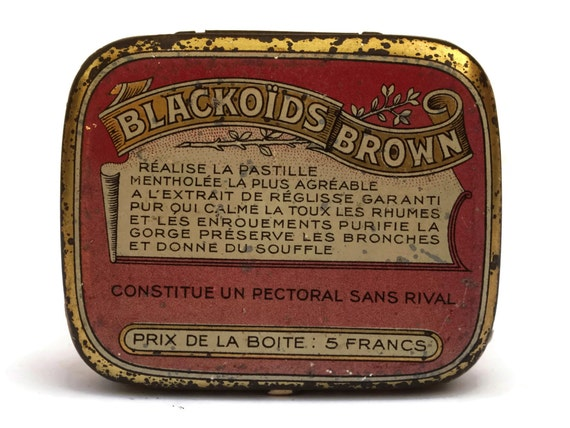 Antique French Medicine Tin Box for Blackoids Brown Pastilles