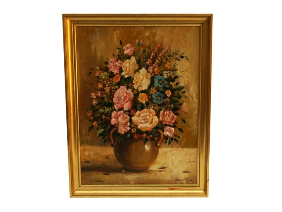 Rose Flower Still Life Painting, Vintage French Flowers in Vase Original Framed Art, Romantic Floral Home Decor & Gifts