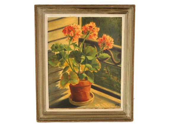 Vintage French Geranium Oil Painting, Floral Still Life, Original Framed Flower Art