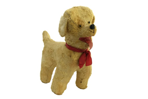 Vintage Stuffed Dog Toy with Red Ribbon Bow, 1950s Animal Doll