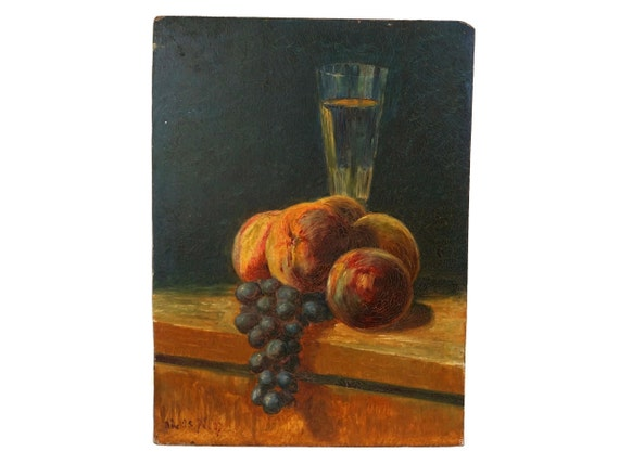 Antique Fruit Still Life Painting with French Champagne, Grapes and Peaches