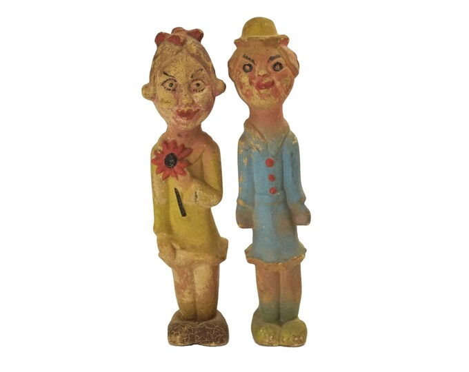 Antique Rubber Carnival Dolls, Pair of 1920s Collectible Girl Figurines, Primitive Folk Art