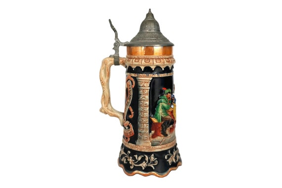 German Beer Stein with Music Box and Pewter Lid, Musical Ceramic Tankard Mug