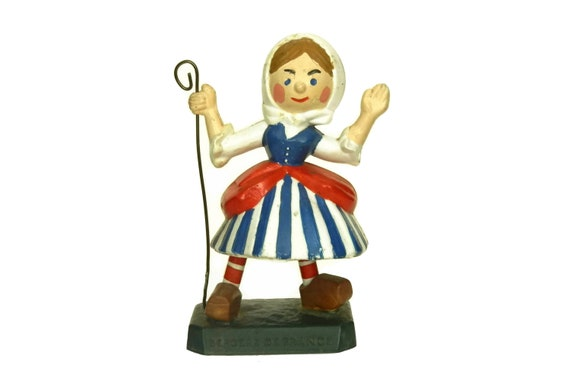 Vintage French Shepherdess Figurine, Wool Advertising for Bergere De France