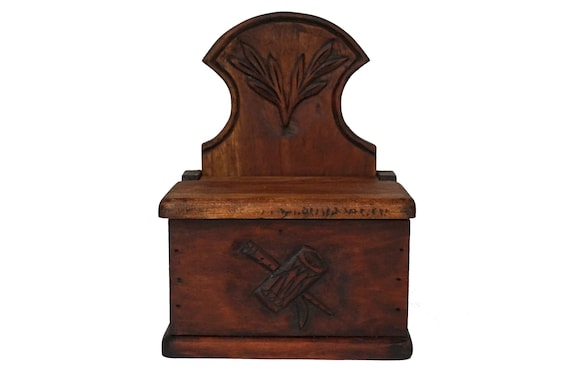 Antique Carved Wood Salt Box, Rustic French Provencal Kitchen Decor