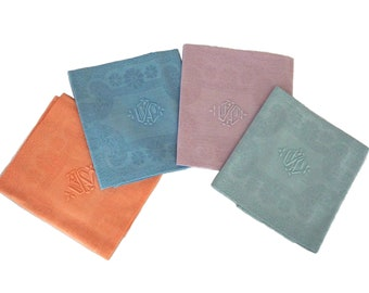 Pastel Rainbow French Linen Napkins, Set of 4 Antique Monogram Serviettes with Embroidered Initials YC