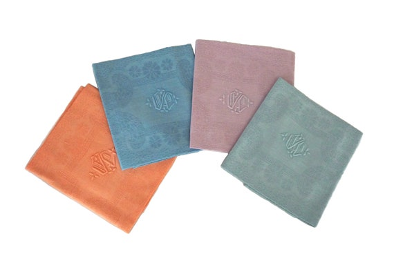 Pastel Rainbow French Linen Napkins, Set of 4 Antique Monogram Serviettes with Embroidered Initials Y C.