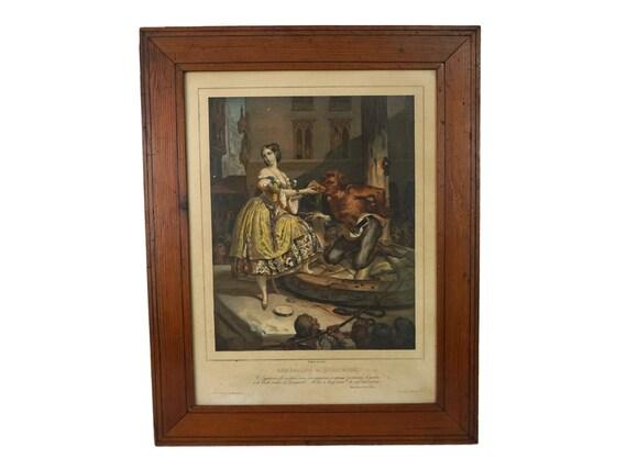 Antique Esmeralda and Quasimodo Art Print, 19th Century Framed Lithograph of Notre Dame de Paris by Nicolas Maurin