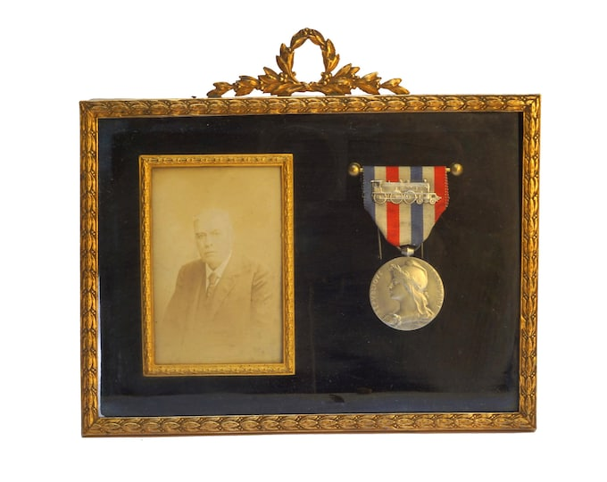 French Antique Silver Medal and Framed Portrait Photo of Old Man, Railroad and Train Collectible Memorabilia