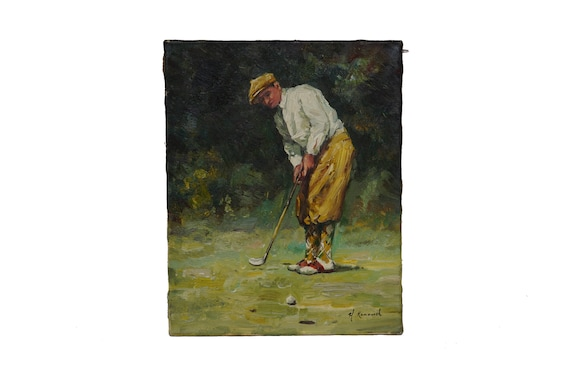 Golf Art Portrait Painting, Sports Home and Wall Decor