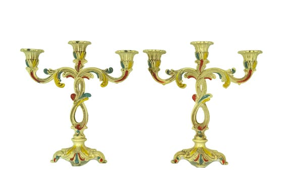 Vintage Florentine Candlestick Holders , 3 Branch Enamel Candelabra, Rococo Home and Table Candle Decor