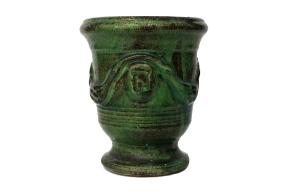 French Anduze Pottery Herb Pot, Small Green Terracotta Urn Vase