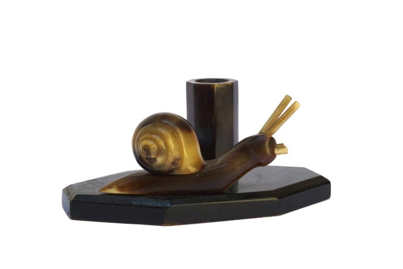 Art Deco Snail Figure Toothpick Holder, French Escargot Figurine