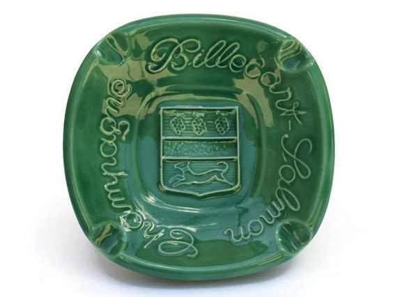 French Vintage Cigar Ashtray with Champagne Advertising, Majolica Coin Dish, Paris Bistro Decor
