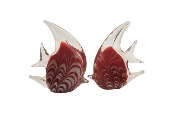 Murano Glass Angel Fish Figurines, Pair of Vintage Mid Century Glass Art Sculptures