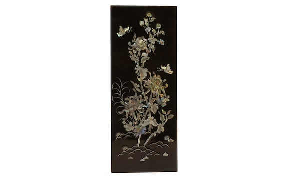 Black Lacquer and Mother of Pearl Panel with Flowers and Butterflies, Vintage Asian Lacquerware Art, Chinoiserie Home Decor