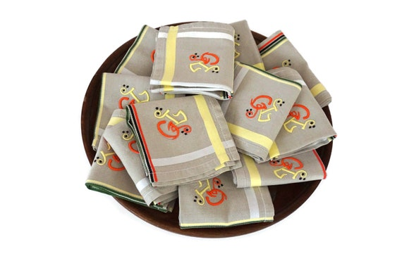 Antique French Plaid Linen Napkins Set of 12,  Monogram Serviettes with Embroidered Initials G L.