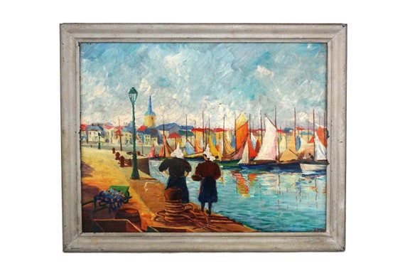 French Fishing Village and Boat Painting, Breton Coastal Decor Sea Art