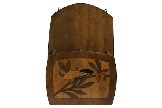 Wall Mail Organizer with Cicada and Olive Branch, French Provence Kitchen Decor