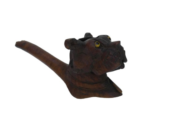 Antique Carved Wood Pipe Bowl, French Bull Dog Head with Glass Eyes