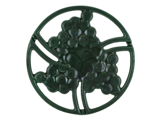 French Enamel Trivet with Grapes and Vines, Vintage Cast Iron Pot Rest