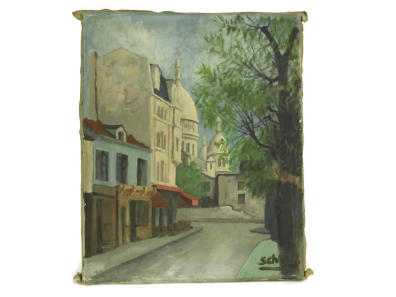 Sacre Coeur Montmartre Paris Painting, Original Vintage French Art