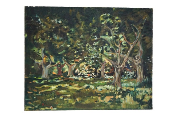 French Olive Tree Painting, Scenic Woodland Forest Landscape Art