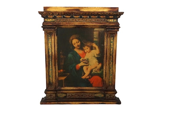 Reserved for X. Antique Florentine Frame with Madonna and Child Portrait, Virgin Mary and Child Jesus Art Print
