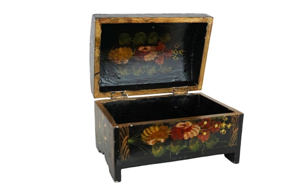 Painted Tole Flower Wooden Chest Jewelry Box, Folk Art Home Decor