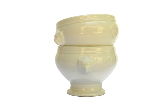 French Onion Soup Bowls Set of 2 with Porcelain Lion Heads
