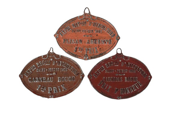 French Bird Trophy Award Medal Set, Shabby Wall Hanging Plaque, Collectible Aviculture Gift
