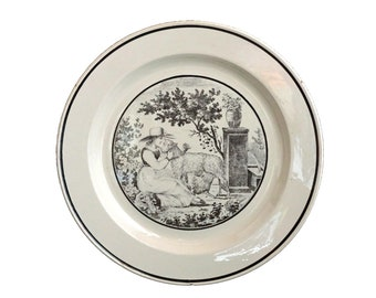 Antique Shepherdess and Sheep Wall Plate, Sarreguemines French Transferware Ceramic Kitchen Decor