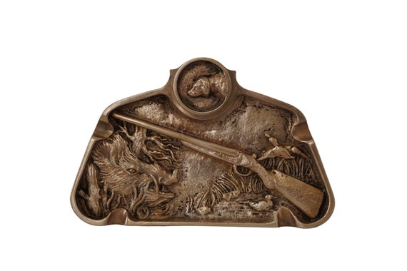 French Antique Bronze Ashtray with Hunting Scene and Wild Boar Figure, Rifle, Dog and Ducks, Men's Ring Dish and Jewelry Tray