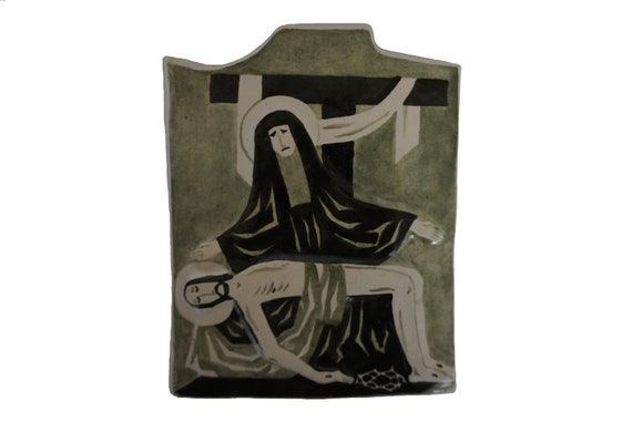 La Pieta Mid Century Pottery Tile Wall Hanging with Mary and Jesus, French Christian Art